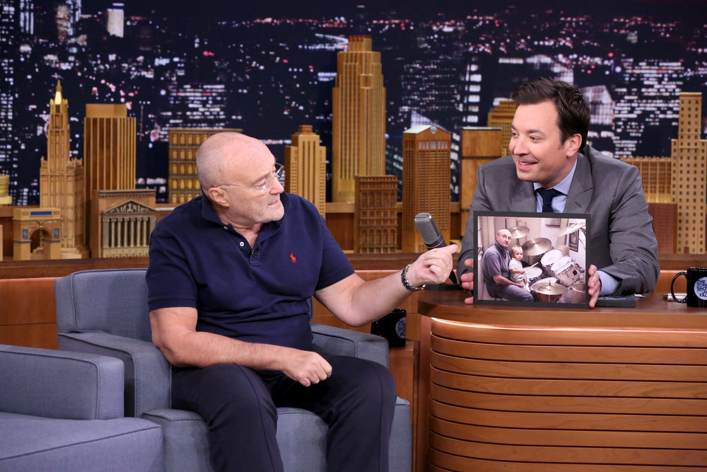 THE TONIGHT SHOW STARRING JIMMY FALLON -- Episode 0557 -- Pictured: (l-r) Singer Phil Collins during an interview with host Jimmy Fallon on October 25, 2016 -- (Photo by: Andrew Lipovsky/NBC)