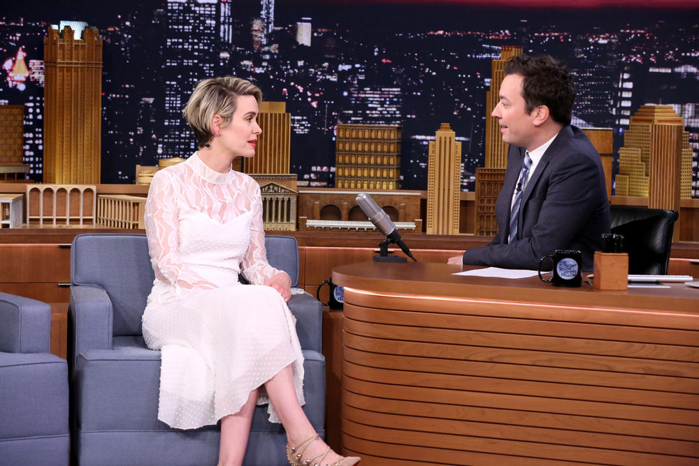 THE TONIGHT SHOW STARRING JIMMY FALLON -- Episode 0549 -- Pictured: (l-r) Actress Sarah Paulson during an interview with host Jimmy Fallon on October 6, 2016 -- (Photo by: Andrew Lipovsky/NBC)