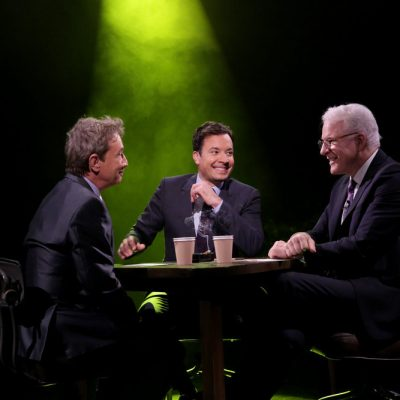 """THE TONIGHT SHOW STARRING JIMMY FALLON -- Episode 0559 -- Pictured: (l-r) Actor Martin Short, host Jimmy Fallon, and actor Steve Martin play """"True Confessions"""" with host Jimmy Fallon on October 27, 2016 -- (Photo by: Andrew Lipovsky/NBC)"""