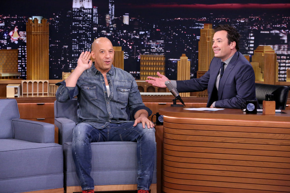 THE TONIGHT SHOW STARRING JIMMY FALLON -- Episode 0554 -- Pictured: (l-r) Actor Vin Diesel during an interview with host Jimmy Fallon on October 13, 2016 -- (Photo by: Andrew Lipovsky/NBC)