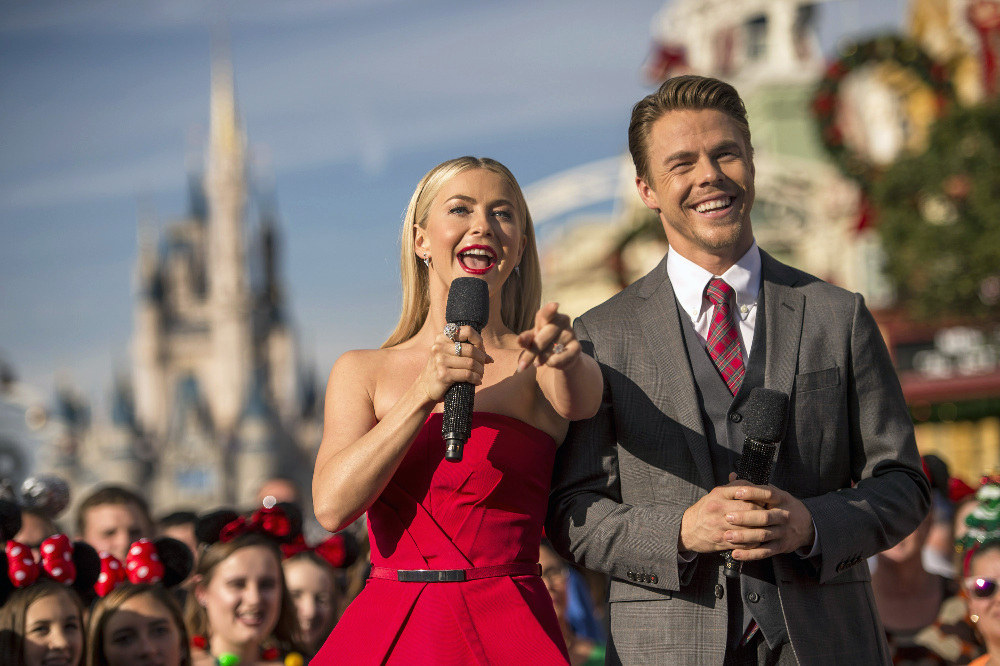 "THE WONDERFUL WORLD OF DISNEY: MAGICAL HOLIDAY CELEBRATION and THE DISNEY PARKS' MAGICAL CHRISTMAS CELEBRATION - ""The Wonderful World of Disney: Magical Holiday Celebration"" premieres on THANKSGIVING, THURSDAY, NOVEMBER 24 (8:00-10:00 p.m. EST) on the ABC Television Network and on the ABC app. Join Emmy Award-winners Julianne and Derek Hough as they host the magical two-hour special from the Walt Disney World Resort. They join ""Descendants 2"" star Sofia Carson to kick off the holiday season in a way only Disney can, showcasing extraordinary music performances, special appearances and some unforgettable Disney magic moments. ""Disney Parks' Magical Christmas Celebration"" will air CHRISTMAS, SUNDAY, DECEMBER 25 (10:00 a.m.-12:00 p.m. EST; air times vary, check listings) on the ABC Television Network and on the ABC and Disney Channel apps. This Christmas, Disney Parks celebrate the joy of the holiday season, as hosts Julianne and Derek Hough take viewers on a magical ride down Main Street and beyond. The Christmas Day celebration will be bigger and brighter than ever before, bringing together the beloved Christmas day parade, magical musical performances, surprise celebrity guests and heart-warming family stories to celebrate the most wonderful time of the year. (DISNEY/Kent Phillips) JULIANNE HOUGH, DEREK HOUGH"