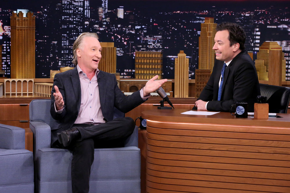 THE TONIGHT SHOW STARRING JIMMY FALLON -- Episode 0566 -- Pictured: (l-r) Comedian Bill Maher during an interview with host Jimmy Fallon on November 7, 2016 -- (Photo by: Andrew Lipovsky/NBC)