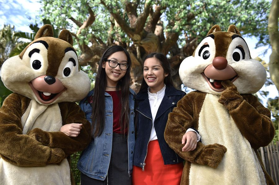 """DISNEY CHANNEL – Talent from Disney Channel were at the Walt Disney World Resort in Orlando, Florida during the taping for """"Disney Parks Presents: A Descendants Magical Holiday Celebration"""" that will air Friday, November 25 on Disney Channel. (Disney Channel/Mark Ashman) CHIP, MADISON HU, OLIVIA RODRIGO, DALE"""