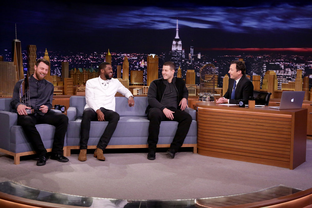 THE TONIGHT SHOW STARRING JIMMY FALLON -- Episode 0566 -- Pictured: (l-r) Baseball players Ben Zobrist, Dexter Fowler, and Anthony Rizzo of the 2016 World Series Champions Chicago Cubs during an interview with host Jimmy Fallon on November 7, 2016 -- (Photo by: Andrew Lipovsky/NBC)