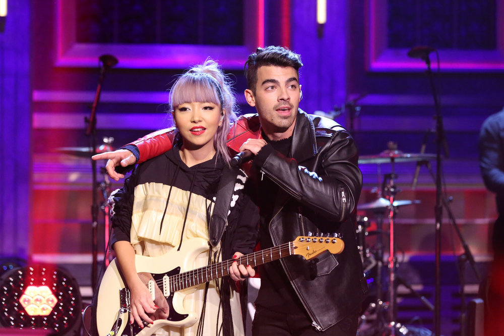 THE TONIGHT SHOW STARRING JIMMY FALLON -- Episode 0575 -- Pictured: Musical guest DNCE performs on November 21, 2016 -- (Photo by: Andrew Lipovsky/NBC)