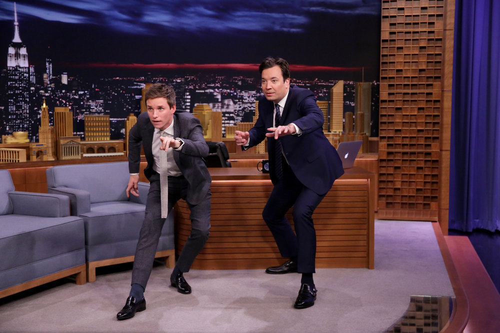 THE TONIGHT SHOW STARRING JIMMY FALLON -- Episode 0567 -- Pictured: (l-r) Actor Eddie Redmayne during an interview with host Jimmy Fallon on November 9, 2016 -- (Photo by: Andrew Lipovsky/NBC)