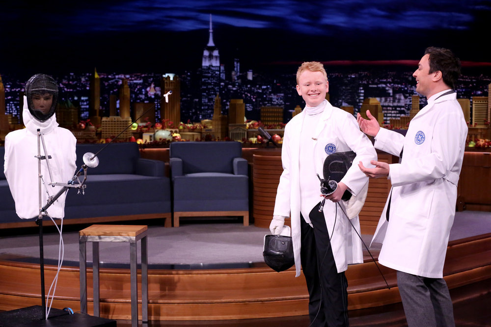"THE TONIGHT SHOW STARRING JIMMY FALLON -- Episode 0577 -- Pictured: (l-r) Fallonventor Thompson ""Sherwood"" Marks and host Jimmy Fallon during GE Fallonventions on November 23, 2016 -- (Photo by: Andrew Lipovsky/NBC)"