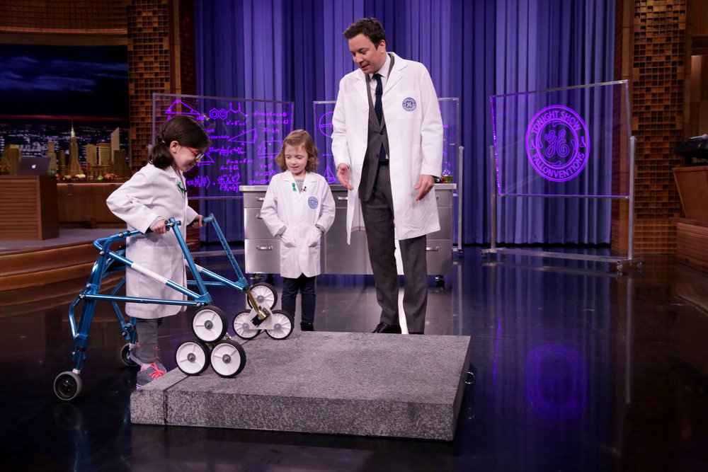 THE TONIGHT SHOW STARRING JIMMY FALLON -- Episode 0577 -- Pictured: (l-r) Fallonventors Claire and Sadie McCallum and host Jimmy Fallon during GE Fallonventions on November 23, 2016 -- (Photo by: Andrew Lipovsky/NBC)