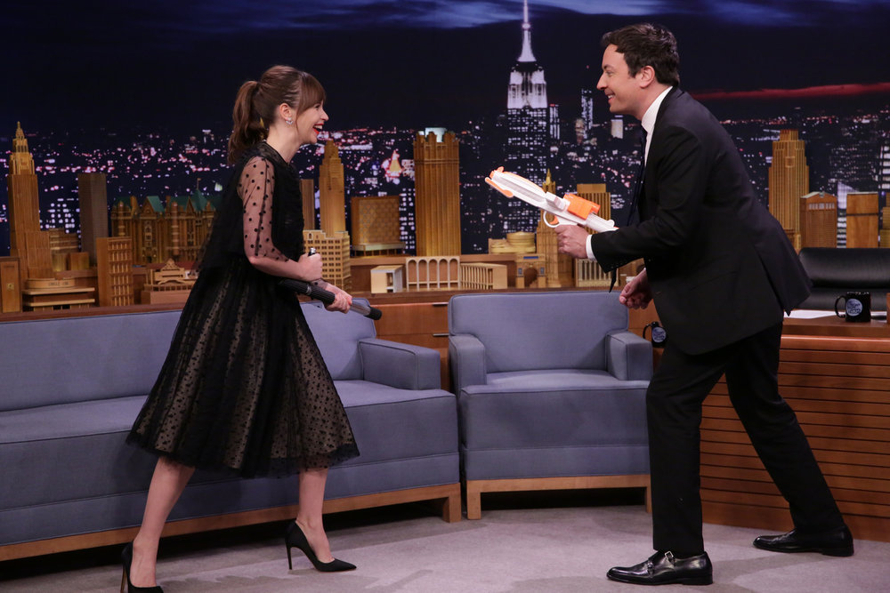 THE TONIGHT SHOW STARRING JIMMY FALLON -- Episode 0581 -- Pictured: (l-r) Actress Felicity Jones demonstrates her martial arts training during an interview with host Jimmy Fallon on November 30, 2016 -- (Photo by: Andrew Lipovsky/NBC)