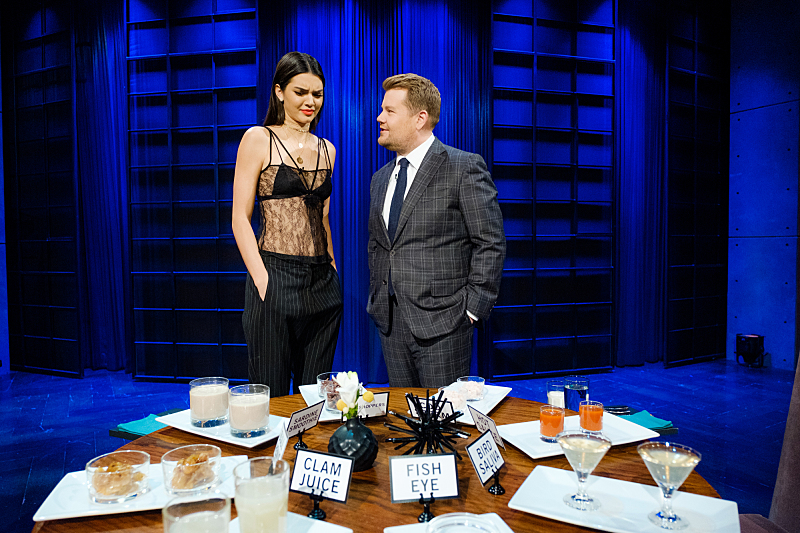 "Kendall Jenner plays Spill Your Guts or Fill Your Guts with James Corden during ""The Late Late Show with James Corden,"" Friday, November 11, 2016 (12:35 PM-1:37 AM ET/PT) On The CBS Television Network.  Photo: Terence Patrick/CBS ©2016 CBS Broadcasting, Inc. All Rights Reserved"