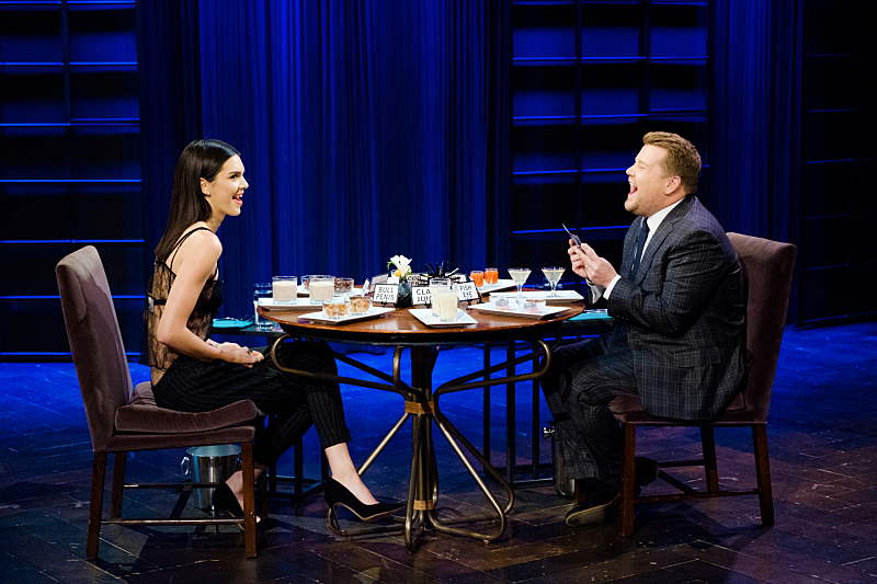 """Kendall Jenner plays Spill Your Guts or Fill Your Guts with James Corden during """"The Late Late Show with James Corden,"""" Friday, November 11, 2016 (12:35 PM-1:37 AM ET/PT) On The CBS Television Network.  Photo: Terence Patrick/CBS ©2016 CBS Broadcasting, Inc. All Rights Reserved"""