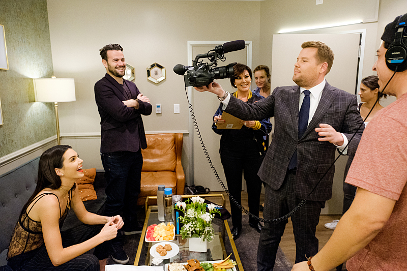 "Kris Jenner and Kendall Jenner chat in the green room with James Corden during ""The Late Late Show with James Corden,"" Friday, November 11, 2016 (12:35 PM-1:37 AM ET/PT) On The CBS Television Network.  Photo: Terence Patrick/CBS ©2016 CBS Broadcasting, Inc. All Rights Reserved"
