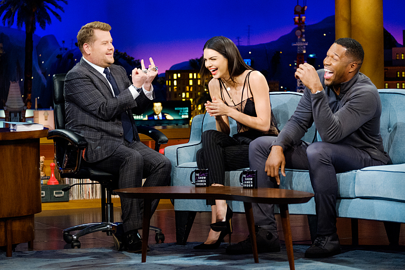 "Kendall Jenner and Michael Strahan chat with James Corden during ""The Late Late Show with James Corden,"" Friday, November 11, 2016 (12:35 PM-1:37 AM ET/PT) On The CBS Television Network.  Photo: Terence Patrick/CBS ©2016 CBS Broadcasting, Inc. All Rights Reserved"