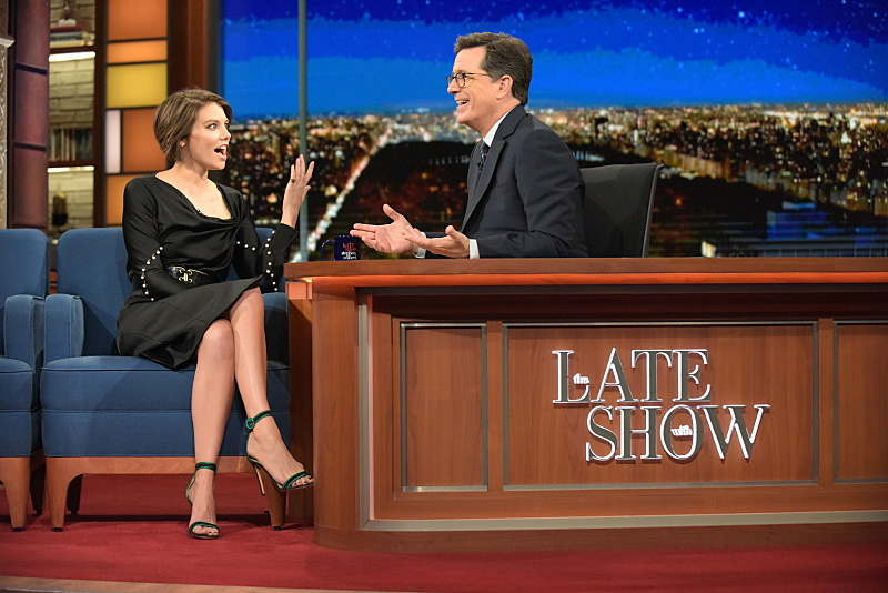 The Late Show with Stephen Colbert and guest Lauren Cohan during Wednesday's 11/30/16 show in New York. Photo: Scott Kowalchyk/CBS ©2016CBS Broadcasting Inc. All Rights Reserved.