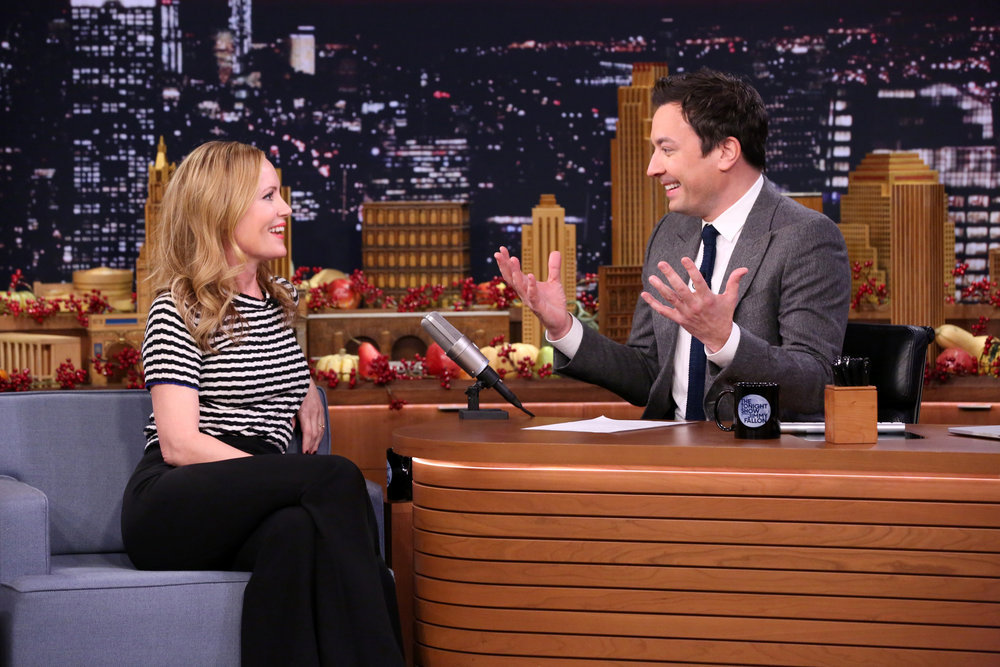 THE TONIGHT SHOW STARRING JIMMY FALLON -- Episode 0577 -- Pictured: (l-r) Actress Leslie Mann during an interview with host Jimmy Fallon on November 23, 2016 -- (Photo by: Andrew Lipovsky/NBC)