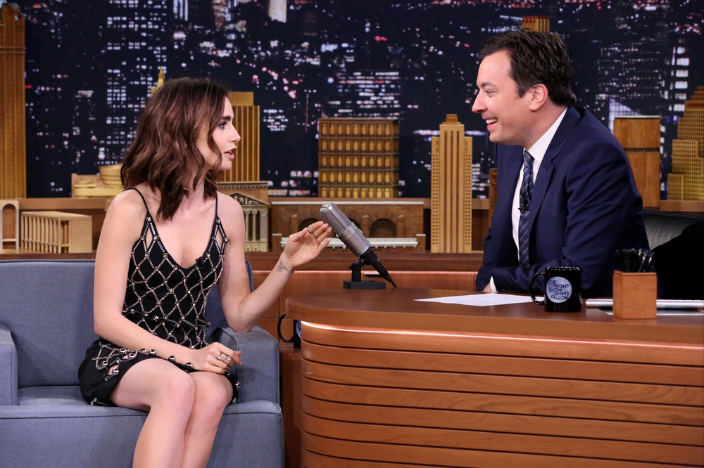 THE TONIGHT SHOW STARRING JIMMY FALLON -- Episode 0567 -- Pictured: (l-r) Actress Lily Collins during an interview with host Jimmy Fallon on November 9, 2016 -- (Photo by: Andrew Lipovsky/NBC)