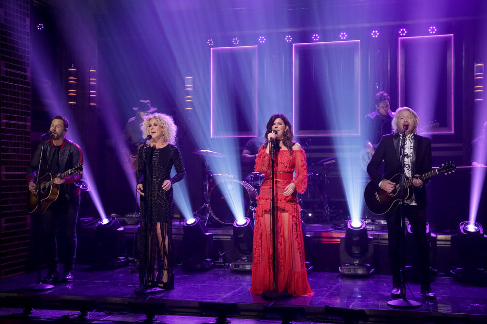 THE TONIGHT SHOW STARRING JIMMY FALLON -- Episode 0570 -- Pictured: (l-r) Jimi Westbrook, Kimberly Schlapman, Karen Fairchild, and Phillip Sweet of musical guest Little Big Town perform on November 14, 2016 -- (Photo by: Andrew Lipovsky/NBC)