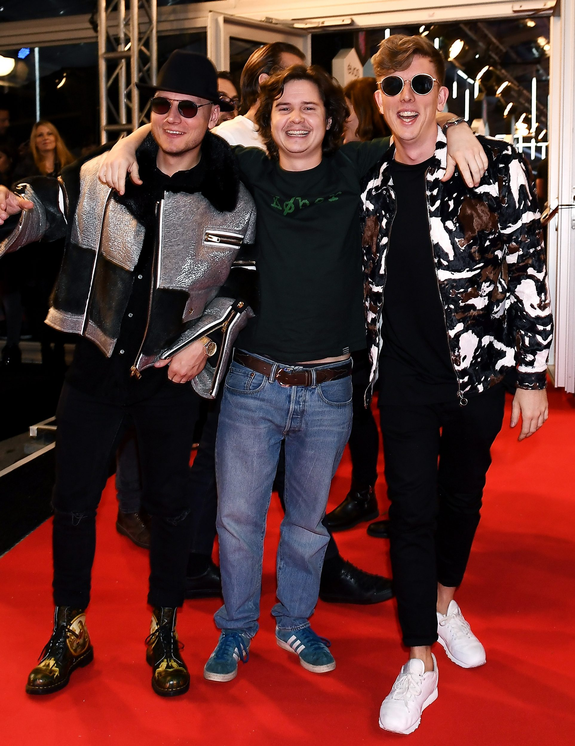 ROTTERDAM, NETHERLANDS - NOVEMBER 06: (EXCLUSIVE COVERAGE) (L-R) Mark Falgren, Lukas Forchhammer and Morten Ristorp of Lukas Graham attend the MTV Europe Music Awards 2016 on November 6, 2016 in Rotterdam, Netherlands. (Photo by Gareth Cattermole/MTV 2016/Getty Images for MTV) *** Local Caption *** Morten Ristorp;Mark Falgren;Lukas Forchhammer