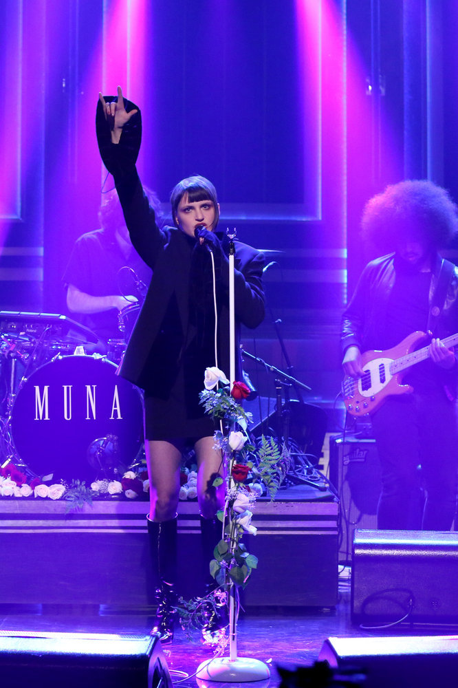 THE TONIGHT SHOW STARRING JIMMY FALLON -- Episode 0566 -- Pictured: Catherine Gavin of musical guest MUNA performs on November 7, 2016 -- (Photo by: Andrew Lipovsky/NBC)