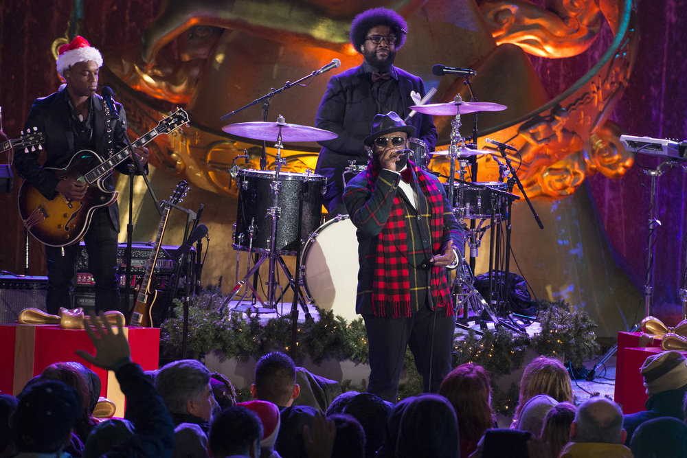 "CHRISTMAS IN ROCKEFELLER CENTER -- Pictured: (l-r) Kirk ""Captain Kirk"" Douglas, Ahmir ""Questlove"" Thompson, Tariq ""Black Thought"" Trotter of The Roots rehearse for the 2016 Christmas in Rockefeller Center -- (Photo by: Virginia Sherwood/NBC)"