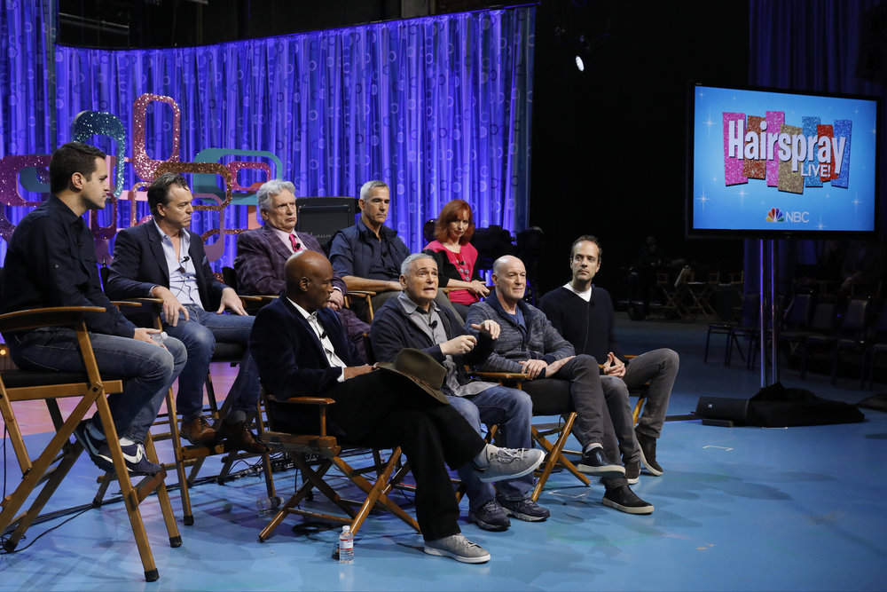 "HAIRSPRAY LIVE! -- ""Hairspray Live! Press Junket -- Pictured: (l-r) Back Row: Dave Karger, Moderator; Derek McLane, Production Designer; Harvey Fierstein, Jerry Mitchell, Choreographer / Associate Producer; Mary Vogt, Costume Designer; Front Row: Kenny Leon, Director / Producer; Craig Zadan, Executive Producer; Neil Meron, Executive Producer; Alex Rudzinski, Co-Executive Producer / Live Television Director -- (Photo by: Trae Patton/NBC)"
