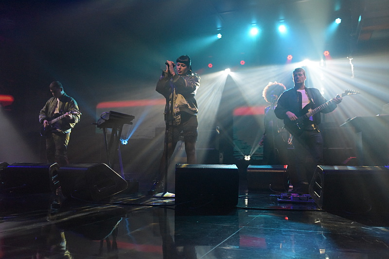 The Late Show with Stephen Colbert and guest Sleigh Bells during Wednesday's 11/30/16 show in New York. Photo: Scott Kowalchyk/CBS ©2016CBS Broadcasting Inc. All Rights Reserved.