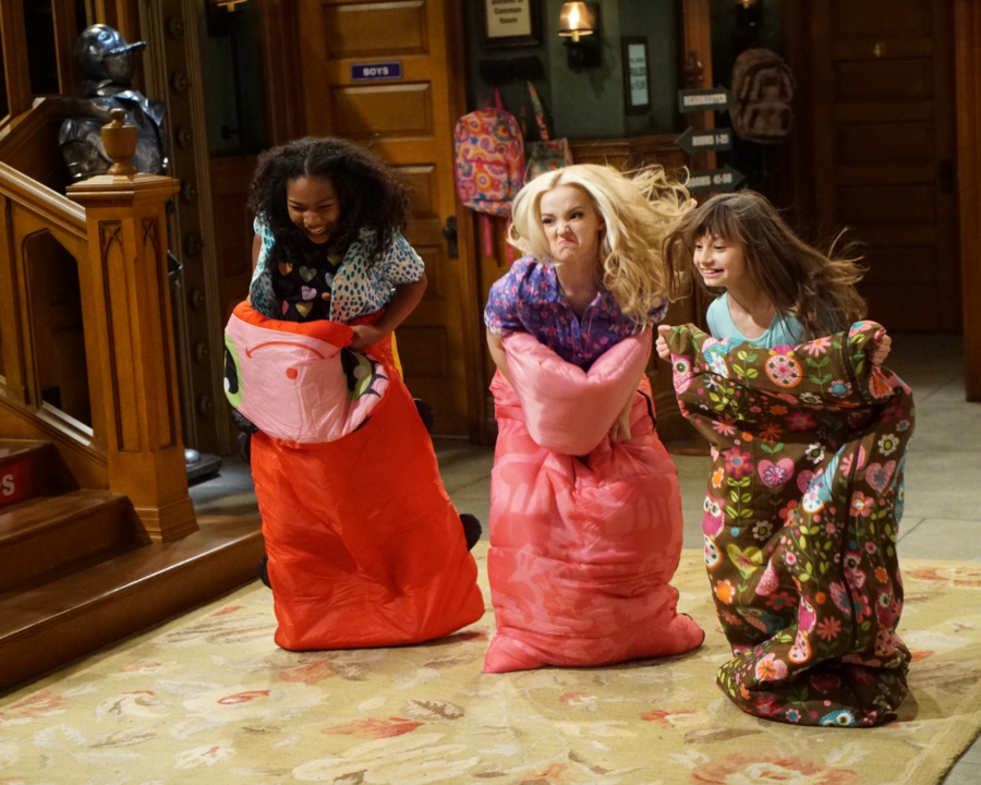 """LIV AND MADDIE - """"Slumber Party-A-Rooney"""" - Liv throws a sleepover to help Ruby and her co-star Priya become better friends. Meanwhile, Joey meets a new nemesis and Parker reveals a big surprise to Maddie. This episode of """"Liv and Maddie: Cali Style"""" airs Friday, November 25 (9:00 - 9:30 P.M. EST) on Disney Channel. (Disney Channel/Ron Tom) LAYA DELEON HAYES, DOVE CAMERON, LAUREN LINDSEY DONZIS"""