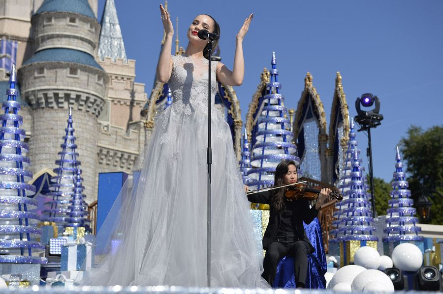 """DISNEY CHANNEL – Talent from Disney Channel were at the Walt Disney World Resort in Orlando, Florida during the taping for """"Disney Parks Presents: A Descendants Magical Holiday Celebration"""" that will air Friday, November 25 on Disney Channel. (Disney Channel/Mark Ashman) SOFIA CARSON"""