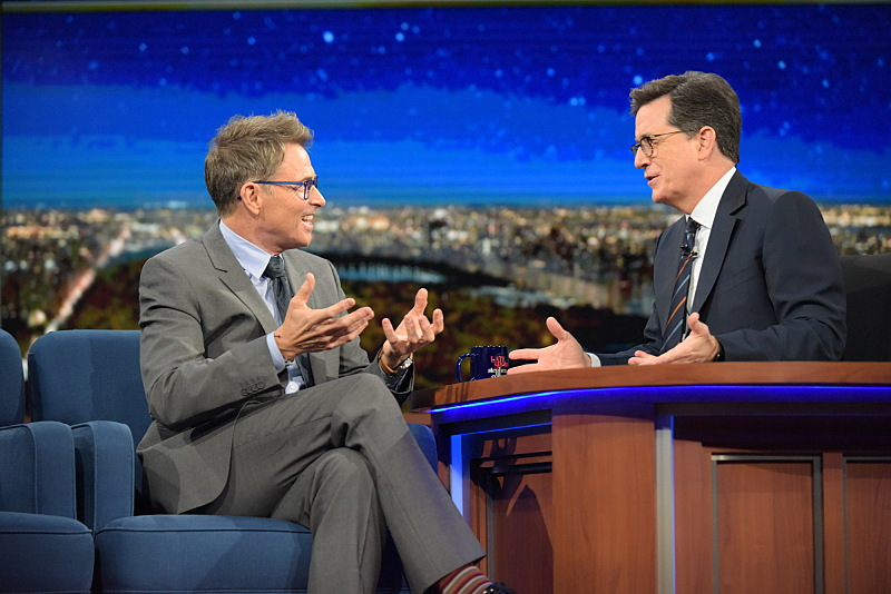 The Late Show with Stephen Colbert and guest Tim Daly during Wednesday's 11/30/16 show in New York. Photo: Scott Kowalchyk/CBS ©2016CBS Broadcasting Inc. All Rights Reserved.