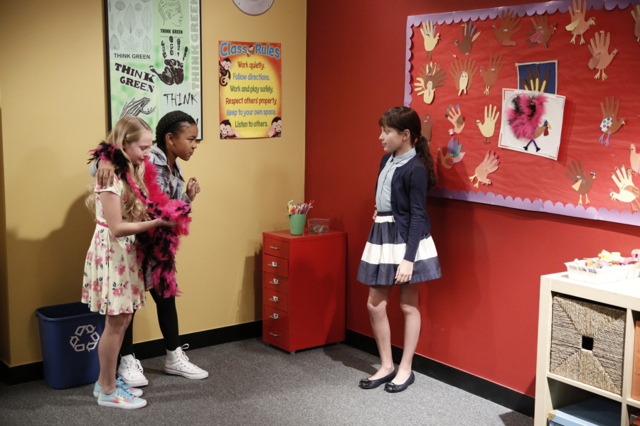 """K.C. UNDERCOVER - """"Undercover Mother"""" - When Scholastic Achievement Quarterly tries to interview K.C. for being the smartest student in her school, she disguises herself as her mom so she can be featured and hide her identity as a spy. This episode of """"K.C. Undercover"""" airs Sunday, November 06 (8:00 - 8:30 P.M. EST) on Disney Channel. (Disney Channel/Tyler Golden) SIBYL GREGORY, ISYS, HELENA ASSIS"""
