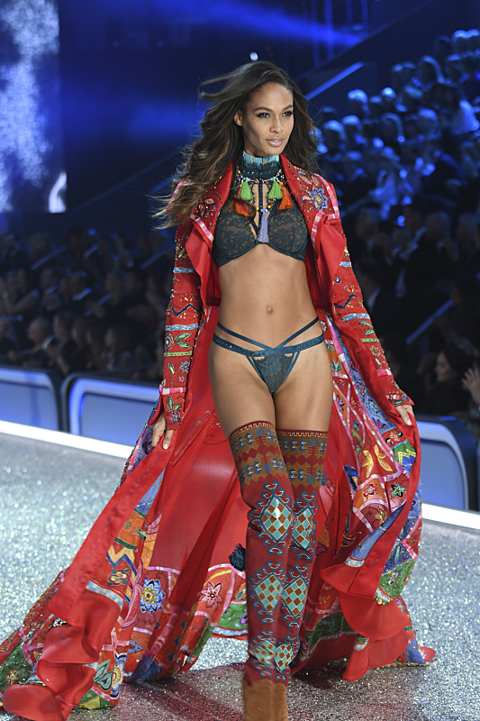 """For the first time, the Victoria's Secret Angels are filmed in Paris for THE VICTORIA'S SECRET FASHION SHOW, broadcast Monday, Dec. 5 (10:00-11:00 PM, ET/PT) on the CBS Television Network. The world's most celebrated fashion show will be seen in more than 190 countries. Merging fashion, fantasy and entertainment, the lingerie runway show will include pink carpet interviews, model profiles, a behind-the-scenes look at the making of the show in the City of Lights and musical performances by Lady Gaga, Bruno Mars, and The Weeknd."" Pictured: Joan Smalls Photo: Michele Crowe/CBS ©2016 CBS Broadcasting, Inc. All Rights Reserved"