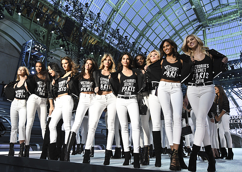 """For the first time, the Victoria's Secret Angels are filmed in Paris for THE VICTORIA'S SECRET FASHION SHOW, broadcast Monday, Dec. 5 (10:00-11:00 PM, ET/PT) on the CBS Television Network.  The world's most celebrated fashion show will be seen in more than 190 countries. Merging fashion, fantasy and entertainment, the lingerie runway show will include pink carpet interviews, model profiles, a behind-the-scenes look at the making of the show in the City of Lights and musical performances by Lady Gaga, Bruno Mars, and The Weeknd."" Pictured left to right: Elsa Hosk, Lais Ribeiro,  Adriana Lima, Alessandra Ambrosio, Sara Sampaio, Stella Maxwell, Lily Aldridge, Zuri Tibby, Rachel Hilbert, Cindy Bruna and Devon Windsor. Photo: Michele Crowe/CBS ©2016 CBS Broadcasting, Inc. All Rights Reserved"