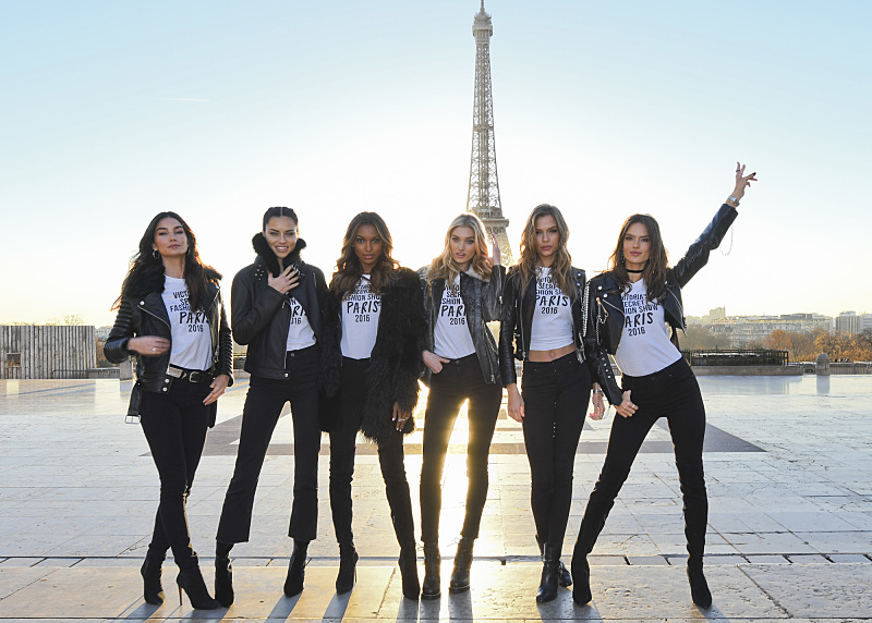 """For the first time, the Victoria's Secret Angels are filmed in Paris for THE VICTORIA'S SECRET FASHION SHOW, broadcast Monday, Dec. 5 (10:00-11:00 PM, ET/PT) on the CBS Television Network.  The world's most celebrated fashion show will be seen in more than 190 countries. Merging fashion, fantasy and entertainment, the lingerie runway show will include pink carpet interviews, model profiles, a behind-the-scenes look at the making of the show in the City of Lights and musical performances by Lady Gaga, Bruno Mars, and The Weeknd."" Pictured left to right: Lily Aldridge, Adriana Lima, Jasmine Tookes,    Elsa Hosk, Josephine Skriver, and Alessandra Ambrosio. Photo: Michele Crowe/CBS ©2016 CBS Broadcasting, Inc. All Rights Reserved"