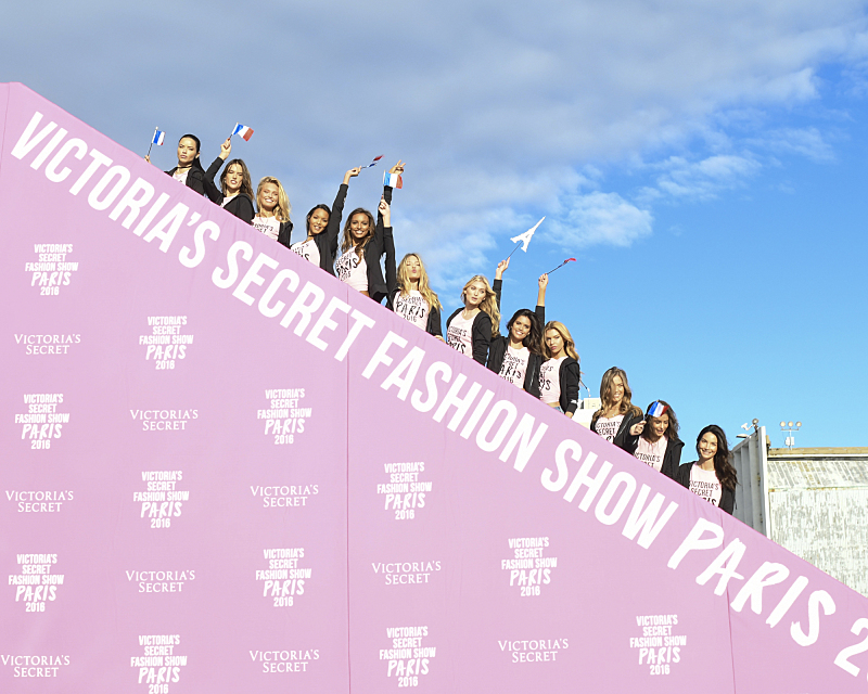 """For the first time, the Victoria's Secret Angels are filmed in Paris for THE VICTORIA'S SECRET FASHION SHOW, broadcast Monday, Dec. 5 (10:00-11:00 PM, ET/PT) on the CBS Television Network.  The world's most celebrated fashion show will be seen in more than 190 countries. Merging fashion, fantasy and entertainment, the lingerie runway show will include pink carpet interviews, model profiles, a behind-the-scenes look at the making of the show in the City of Lights and musical performances by Lady Gaga, Bruno Mars, and The Weeknd."" Pictured left to right: Adriana Lima, Alessandra Ambrosio, Romee Strijd, Lais Ribeiro, Jasmine Tookes, Martha Hunt, Elsa Hosk, Sara Sampaio, Stella Maxwell, Josephine Skriver, Taylor Hill, and Lily Aldridge. Photo: Michele Crowe/CBS ©2016 CBS Broadcasting, Inc. All Rights Reserved"