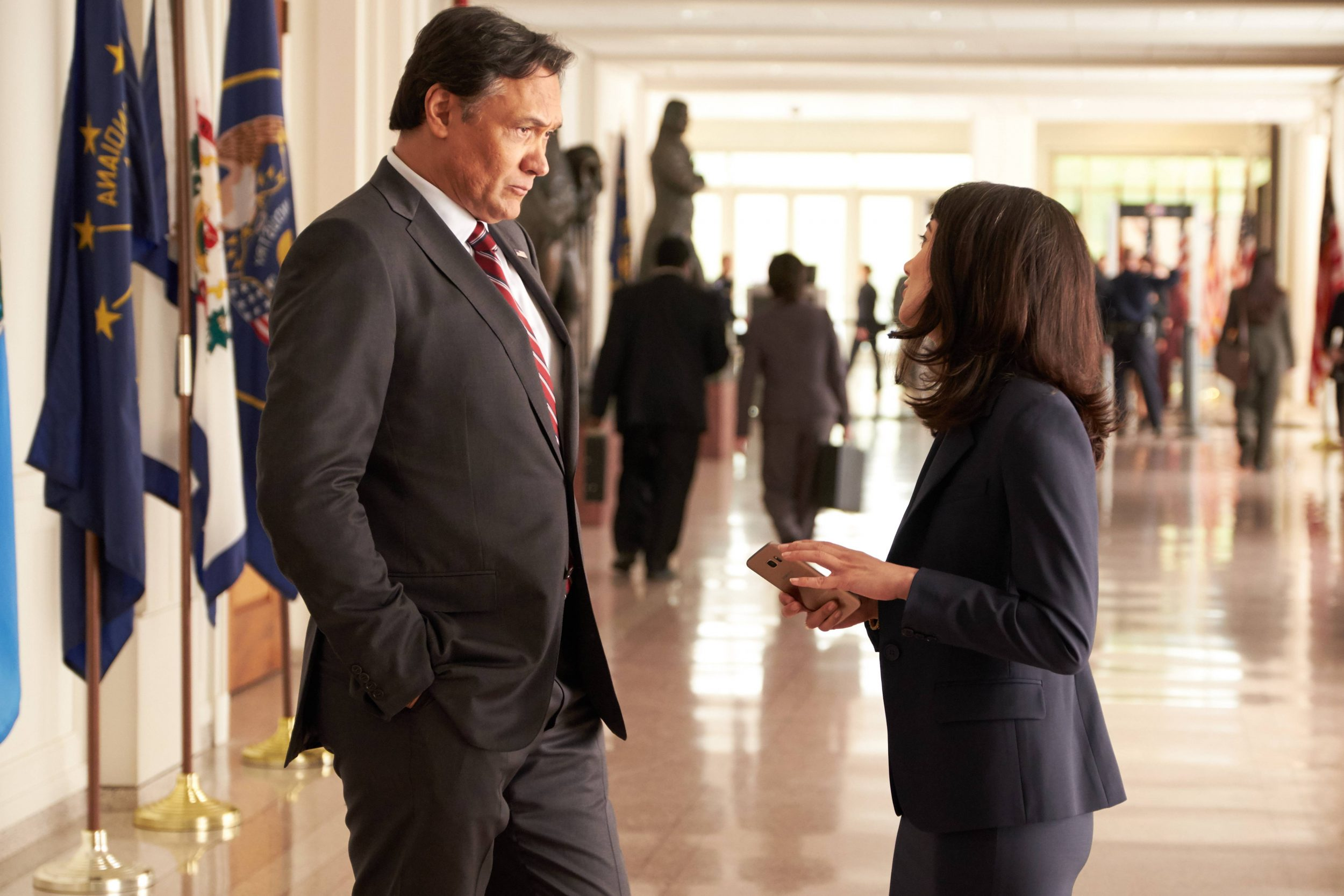 """24: LEGACY: L-R: Jimmy Smits and Sheila Vand. 24: LEGACY begins its two-night premiere event following """"SUPERBOWL LI"""" on Sunday, Feb. 5, and will continue Monday, Feb. 6 on FOX. ©2016 Fox Broadcasting Co. Cr: John P Fleenor/FOX"""