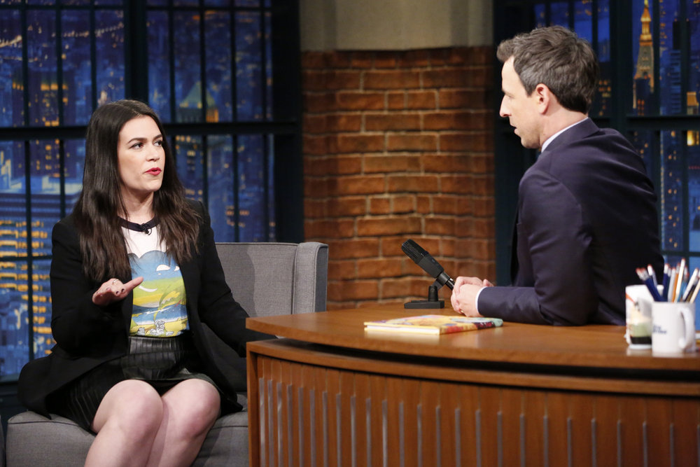 LATE NIGHT WITH SETH MEYERS -- Episode 457 -- Pictured: (l-r) Comedian/actress Abbi Jacobson during an interview with host Seth Meyers on December 6, 2016 -- (Photo by: Lloyd Bishop/NBC)