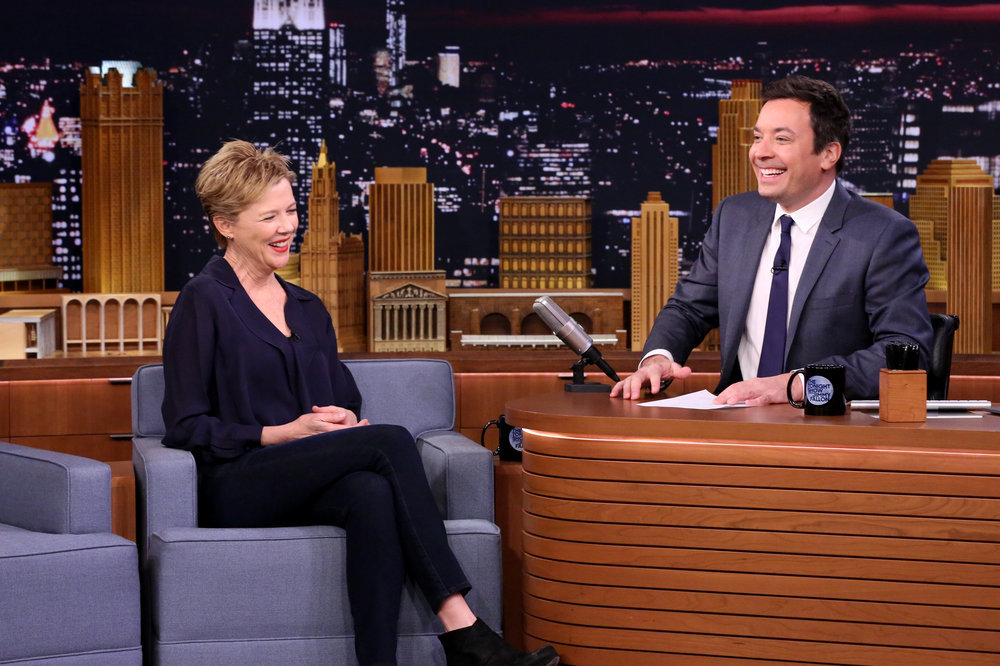 THE TONIGHT SHOW STARRING JIMMY FALLON -- Episode 0584 -- Pictured: (l-r) Actress Annette Bening during an interview with host on December 05, 2016 -- (Photo by: Andrew Lipovsky/NBC)