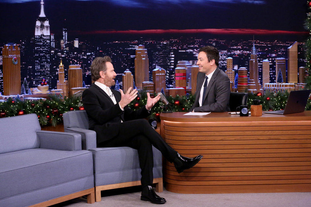 THE TONIGHT SHOW STARRING JIMMY FALLON -- Episode 0589 -- Pictured: (l-r) Actor Bryan Cranston during an interview with host Jimmy Fallon on December 12, 2016 -- (Photo by: Andrew Lipovsky/NBC)