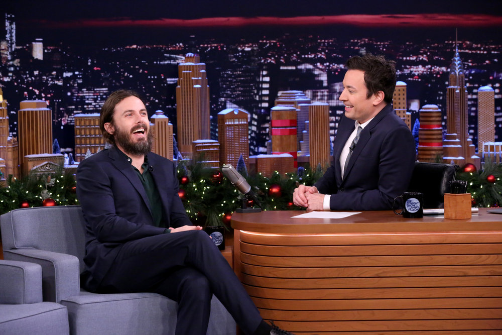 THE TONIGHT SHOW STARRING JIMMY FALLON -- Episode 0592 -- Pictured: (l-r) Actor Casey Affleck during an interview with host Jimmy Fallon on December 15, 2016 -- (Photo by: Andrew Lipovsky/NBC)
