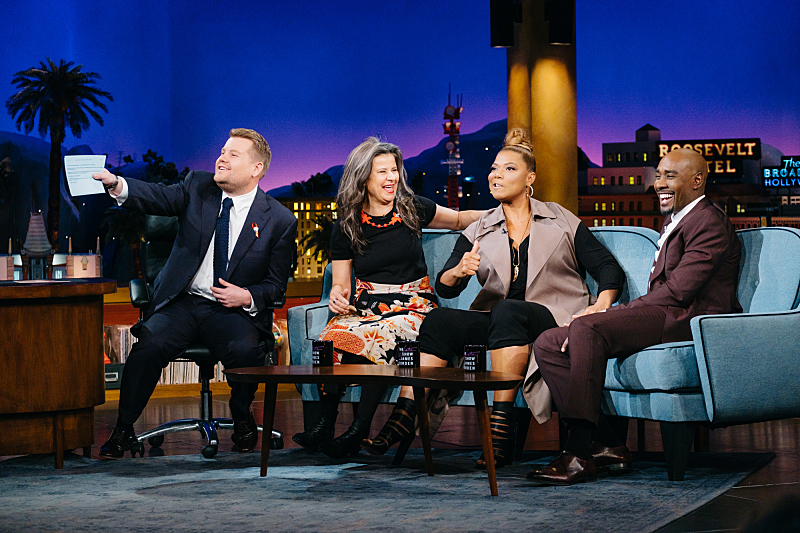 "Tracey Ullman, Queen Latifah, and Morris Chestnut chat with James Corden during ""The Late Late Show with James Corden,"" Thursday, December 1, 2016 (12:35 PM-1:37 AM ET/PT) On The CBS Television Network.  Photo: Terence Patrick/CBS ©2016 CBS Broadcasting, Inc. All Rights Reserved"
