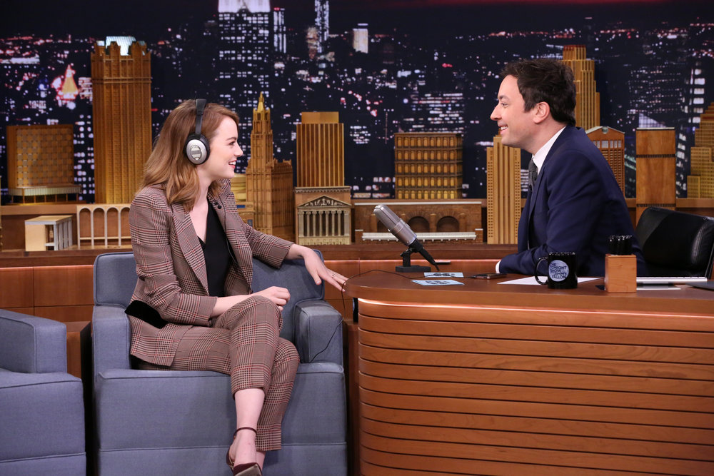 "THE TONIGHT SHOW STARRING JIMMY FALLON -- Episode 0582 -- Pictured: (l-r) Actress Emma Stone and host Jimmy Fallon play ""Singing Whisper Challenge"" on December 01, 2016 -- (Photo by: Andrew Lipovsky/NBC)"