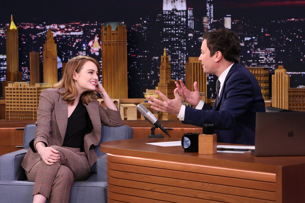 THE TONIGHT SHOW STARRING JIMMY FALLON -- Episode 0582 -- Pictured: (l-r) Actress Emma Stone during an interview with host Jimmy Fallon on December 01, 2016 -- (Photo by: Andrew Lipovsky/NBC)