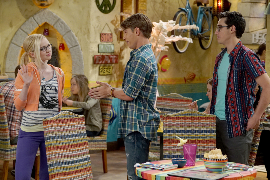 "LIV AND MADDIE: CALI STYLE - ""Ex-A-Rooney"" - When Maddie and Josh start hanging out again, Joey feels awkward by their rekindled friendship. Meanwhile, Parker and Val find themselves in a jam when competing for a coveted finalist spot in the Mars Madness competition. This episode of ""Liv and Maddie: Cali Style"" airs Friday, January 27 (5:30 - 6:00 P.M. EST) in Disney Channel. (Disney Channel/Eric McCandless) DOVE CAMERON, LUCAS ADAMS, JOEY BRAGG"