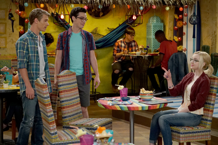 "LIV AND MADDIE: CALI STYLE - ""Ex-A-Rooney"" - When Maddie and Josh start hanging out again, Joey feels awkward by their rekindled friendship. Meanwhile, Parker and Val find themselves in a jam when competing for a coveted finalist spot in the Mars Madness competition. This episode of ""Liv and Maddie: Cali Style"" airs Friday, January 27 (5:30 - 6:00 P.M. EST) in Disney Channel. (Disney Channel/Eric McCandless) LUCAS ADAMS, JOEY BRAGG, DOVE CAMERON"