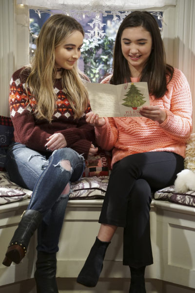 "GIRL MEETS WORLD - ""Girl Meets A Christmas Maya"" - It's the holidays and Riley is excited to celebrate her favorite time of the year, but for Maya, the holidays only bring back unhappy memories from her childhood. This episode of ""Girl Meets World"" airs Friday, December 02 (8:30 - 9:00 P.M. EST) on Disney Channel. (Disney Channel/Ron Tom) SABRINA CARPENTER, ROWAN BLANCHARD"