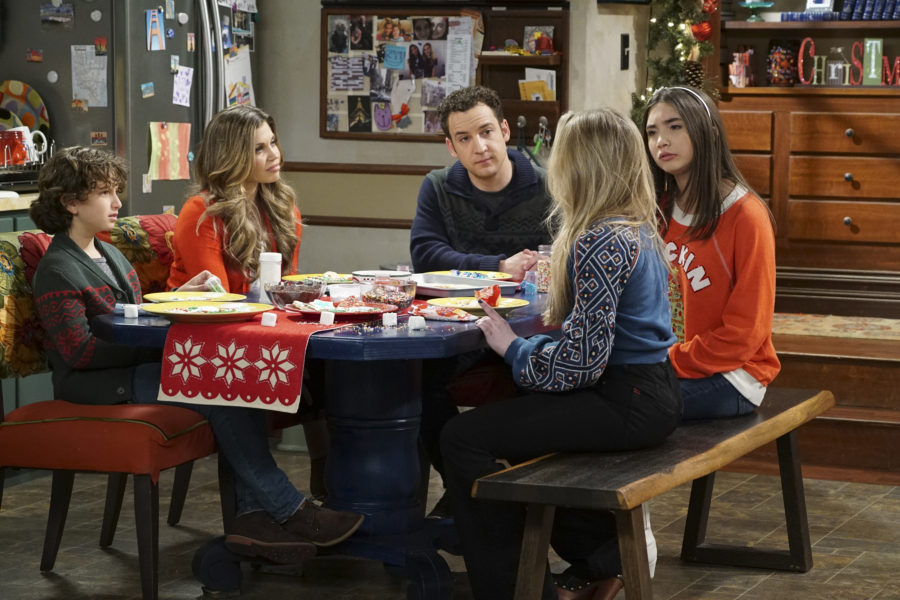 "GIRL MEETS WORLD - ""Girl Meets A Christmas Maya"" - It's the holidays and Riley is excited to celebrate her favorite time of the year, but for Maya, the holidays only bring back unhappy memories from her childhood. This episode of ""Girl Meets World"" airs Friday, December 02 (8:30 - 9:00 P.M. EST) on Disney Channel. (Disney Channel/Ron Tom) AUGUST MATURO, DANIELLE FISHEL, BEN SAVAGE, ROWAN BLANCHARD"