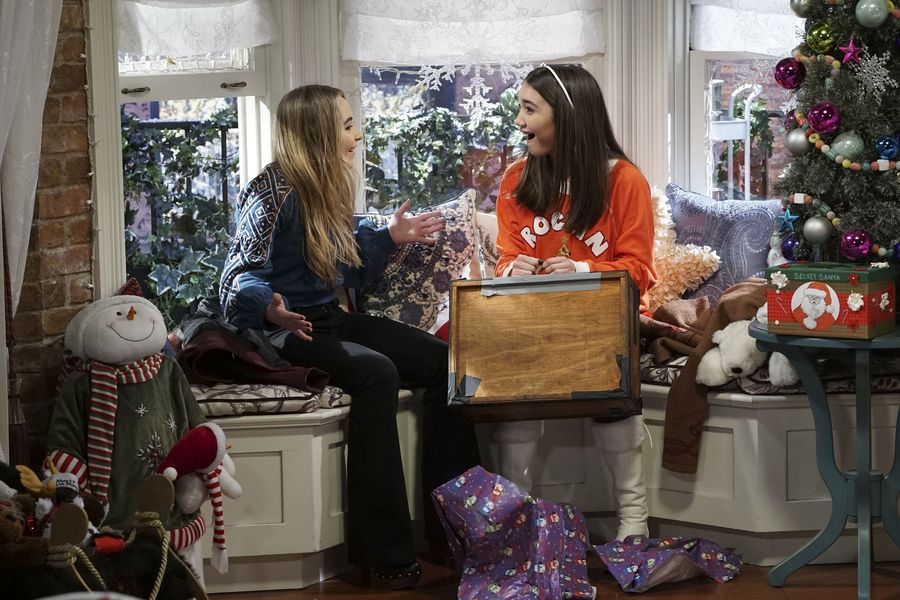 "GIRL MEETS WORLD – ""Girl Meets A Christmas Maya"" – It's the holidays and Riley is excited to celebrate her favorite time of the year, but for Maya, the holidays only bring back unhappy memories from her childhood. This episode of ""Girl Meets World"" airs Friday, December 02 (8:30 – 9:00 P.M. EST) on Disney Channel. (Disney Channel/Ron Tom) SABRINA CARPENTER, ROWAN BLANCHARD"