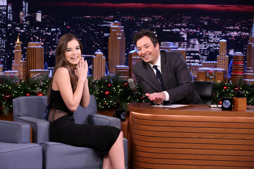THE TONIGHT SHOW STARRING JIMMY FALLON -- Episode 0589 -- Pictured: (l-r) Actress Hailee Steinfeld during an interview with host Jimmy Fallon on December 12, 2016 -- (Photo by: Andrew Lipovsky/NBC)