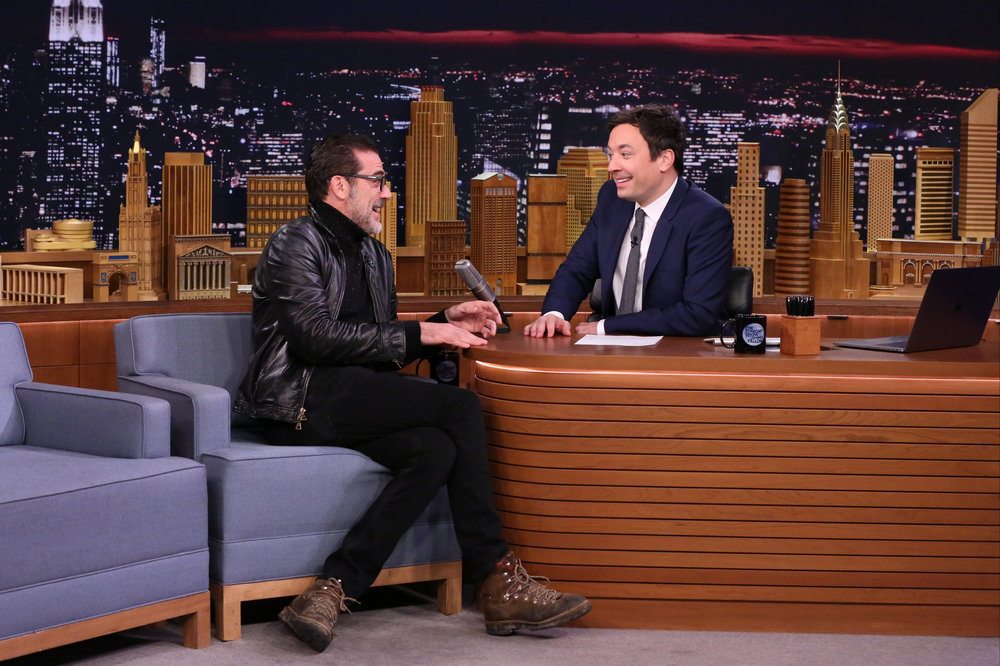 THE TONIGHT SHOW STARRING JIMMY FALLON -- Episode 0582 -- Pictured: (l-r) Actor Jeffrey Dean Morgan during an interview with host Jimmy Fallon on December 01, 2016 -- (Photo by: Andrew Lipovsky/NBC)
