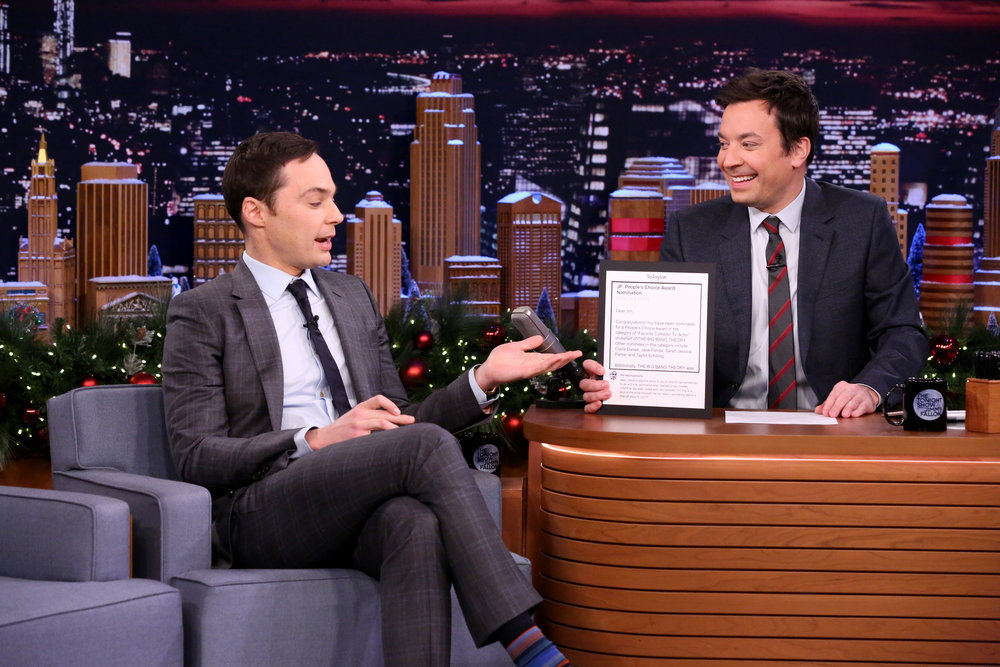 THE TONIGHT SHOW STARRING JIMMY FALLON -- Episode 0597 -- Pictured: (l-r) Actor Jim Parsons during an interview with host Jimmy Fallon on December 22, 2016 -- (Photo by: Andrew Lipovsky/NBC)